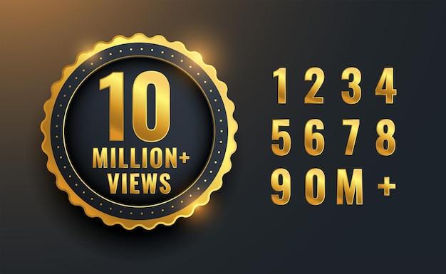 10 milhões ou 10 milhões de visualizações com design de etiqueta comemorativa