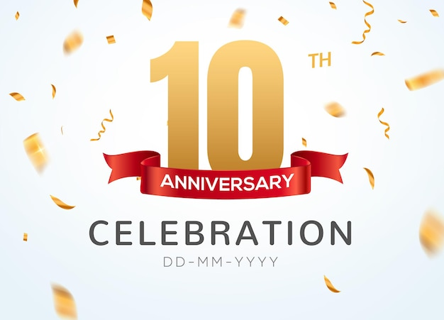 10 números de aniversário de ouro com confete dourado. modelo de festa de evento de 10º aniversário de celebração.