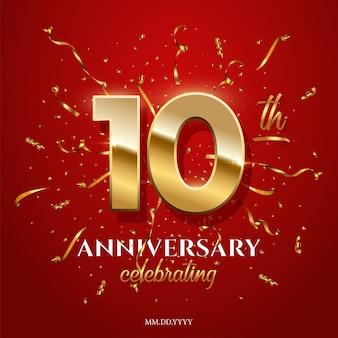 10 números dourados e texto comemorando aniversário com dourado e confetes sobre fundo vermelho