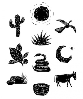 10 objetos em xilogravura animais e plantas