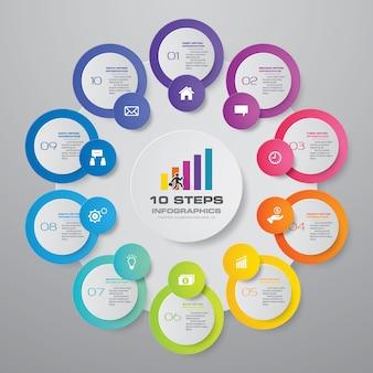10 passos infográficos elemento modelo gráfico.
