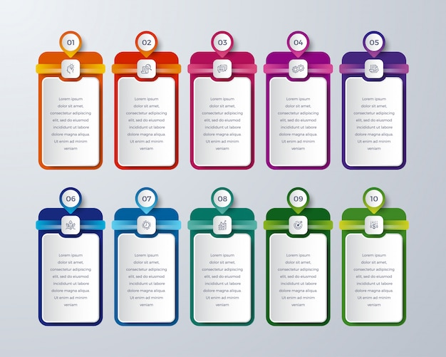 10 passos ou processo moderno infográfico com cor diferente
