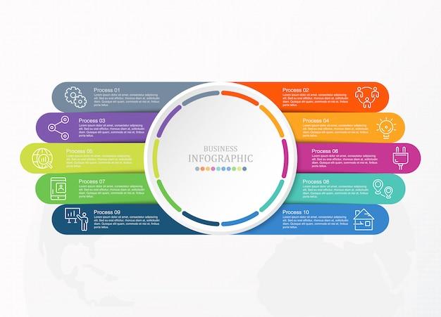 10 processo infográfico e ícones de negócios.