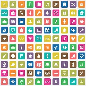 100 acessórios ícones grande conjunto universal