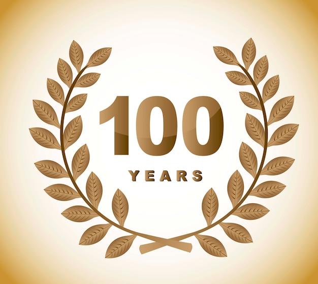 100 anos com coroa de louros de ouro sobre o vetor de fundo marrom