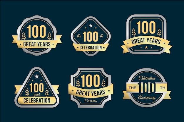 100% coleção de distintivos de aniversário
