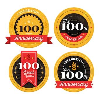 100% coleção de etiquetas de aniversário