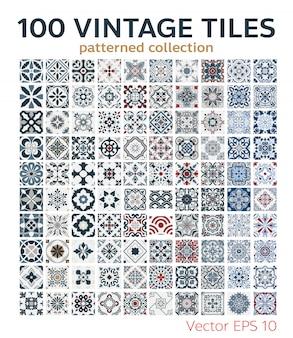 100 conjunto de azulejos antigos padrões sem costura design antigo
