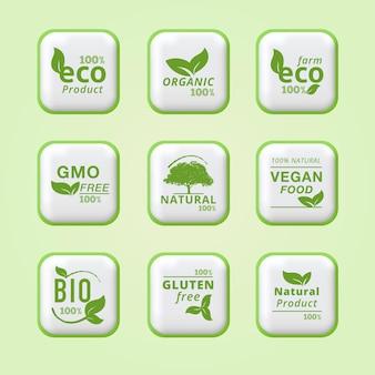 100 eco farm ecological leaves labels ícone verde design de rótulo de produto fresco e orgânico puro