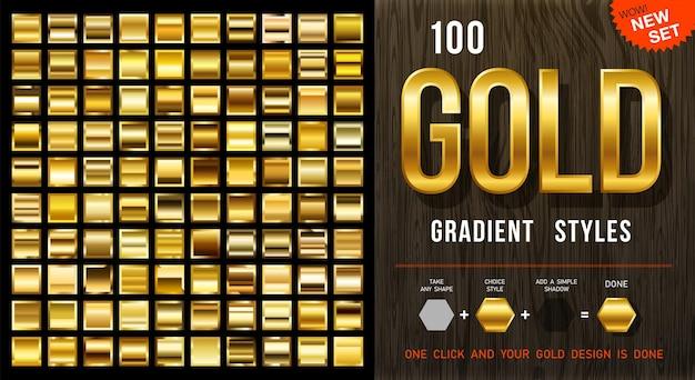 100 estilos de gradiente de ouro de vetor