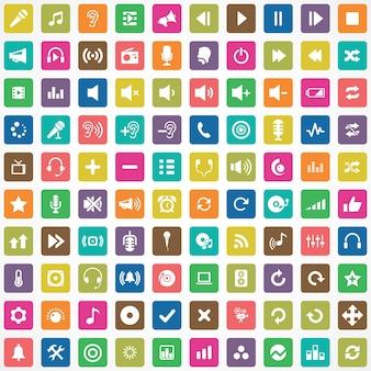 100 ícones de áudio grande conjunto universal
