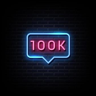 100 mil seguidores de texto de estilo de sinais de néon