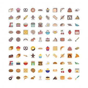 100 padaria e alimentos ícones preenchidos e planos