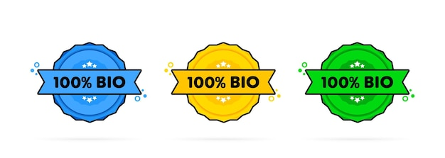 100 por cento bio carimbo. vetor. ícone do emblema 100 por cento bio. logotipo do crachá certificado. modelo de carimbo. etiqueta, etiqueta, ícones. vetor eps 10. isolado no fundo branco.