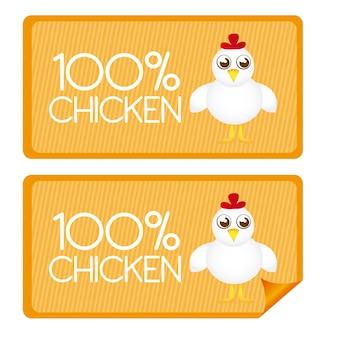 100 por cento de etiquetas de frango e palitos