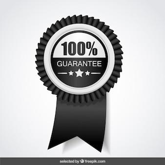 100 por cento de garantia preto e branco
