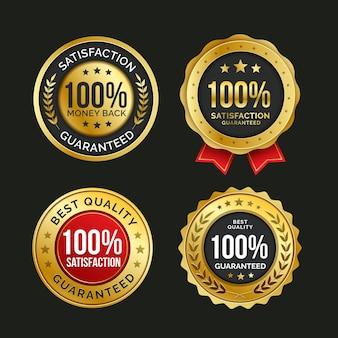 100% satisfação garantida coleção de crachás