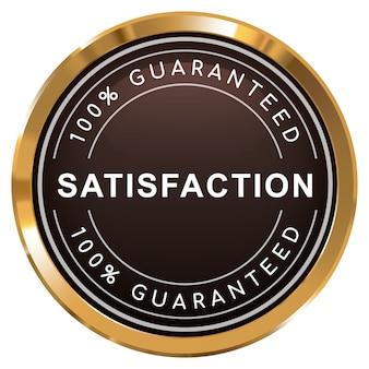 100% satisfação garantida em crachá dourado metálico brilhante