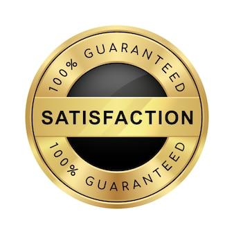 100% satisfação garantida emblema de luxo metálico preto e dourado