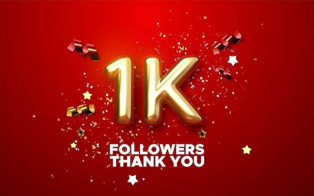 1000 seguidores assinam com um sinal dourado e confetes de design de banner de mídia social