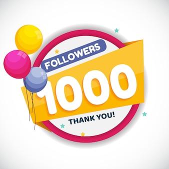 1000 seguidores. banner de agradecimento