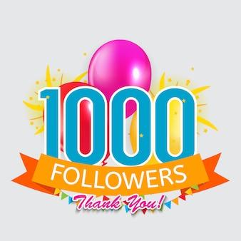 1000 seguidores, cartão de agradecimento para mídias sociais