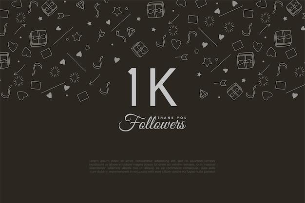 1000 seguidores com pequenas fotos decorando