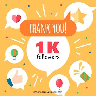 1000 seguidores de fundo com balões