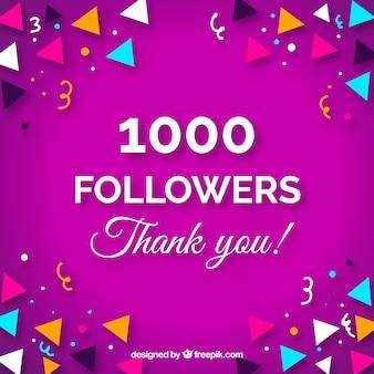 1000 seguidores de fundo com confetes