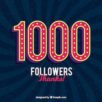 1000 seguidores de fundo retro