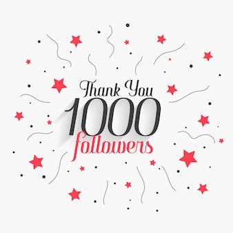 1000 seguidores de mídia social obrigado postar design