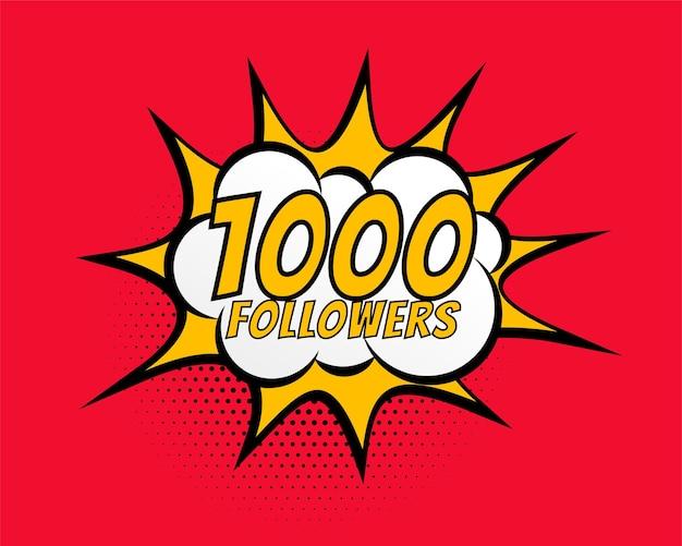 1000 seguidores de mídia social pós-design de conexão de rede