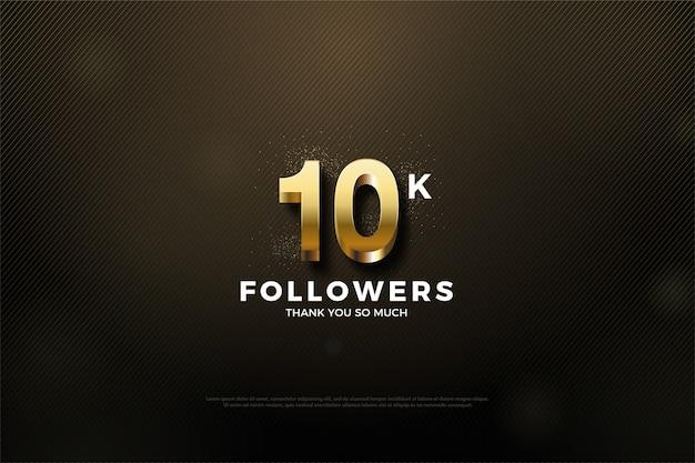 10k seguidores ou assinantes com números 3d dourados.