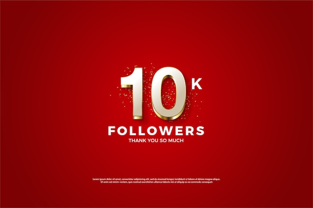10k seguidores ou assinantes com números brancos com listras douradas.