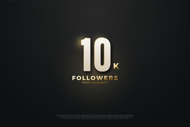 10k seguidores ou assinantes com números brancos e letras douradas.