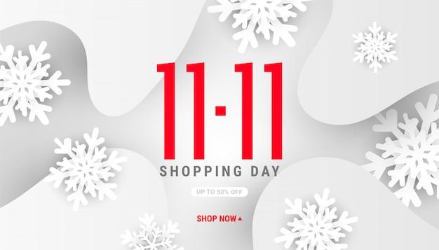11.11 banner de forma de onda líquida fluida de inverno com flocos de neve de forma decoração branca e sombras no fundo cinza