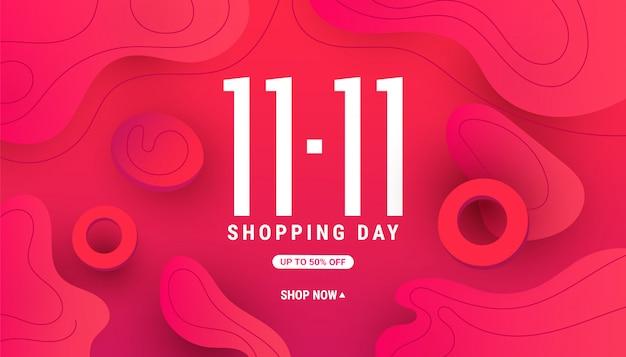11.11 banner de forma de onda líquida líquida moderna com forma gradiente