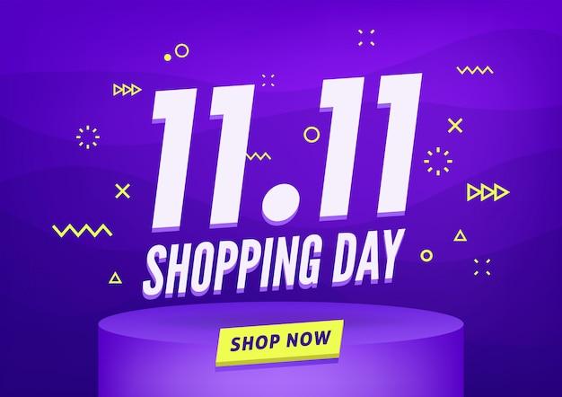 11.11 banner de venda do dia de compras