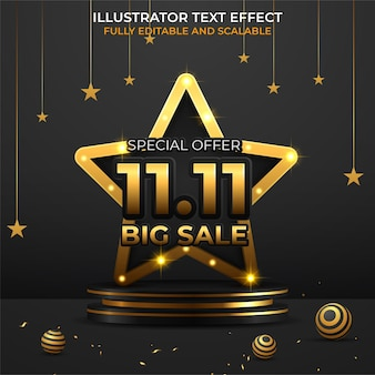 11.11 design de pôster ou folheto de venda de compras online