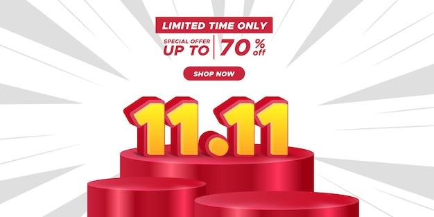 11,11 dia de compras de dia único banner de promoção de desconto em pôster anunciando a grande mega venda final com display de palco em pódio de cilindro