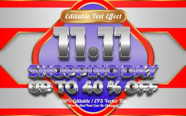 11.11 efeito de texto editável online shooping day