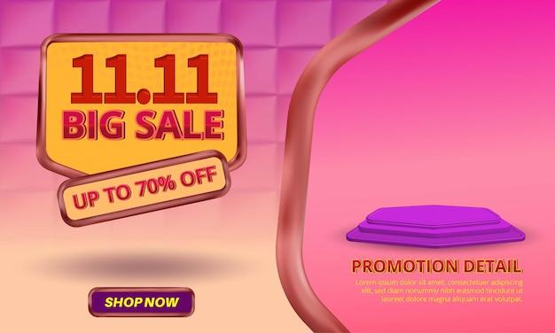 11 11 modelo de promoção de banner de grande venda com texto editável e plano de fundo padrão quadrado 3d