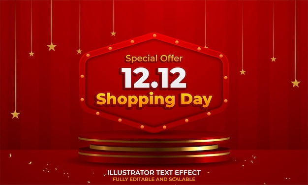 12.12 banner de venda de festival de compras com confetes dourados
