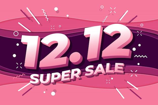12.12 cartaz de venda super dia de compras ou design de folheto.