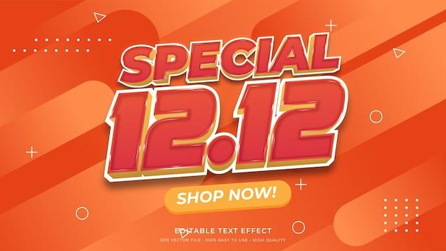 12.12 efeito de texto editável de tipografia de venda especial