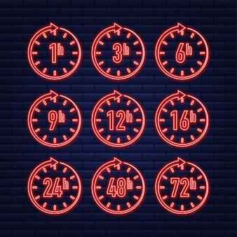 12 24 48 72 horas neon clock arrow efeito de tempo de trabalho ou tempo de serviço de entrega