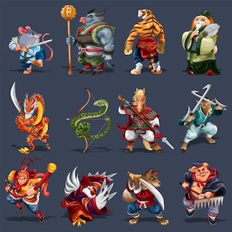 12 animais do zodíaco chinês com estilo kungfu