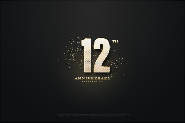 12º aniversário com números e pontos dourados