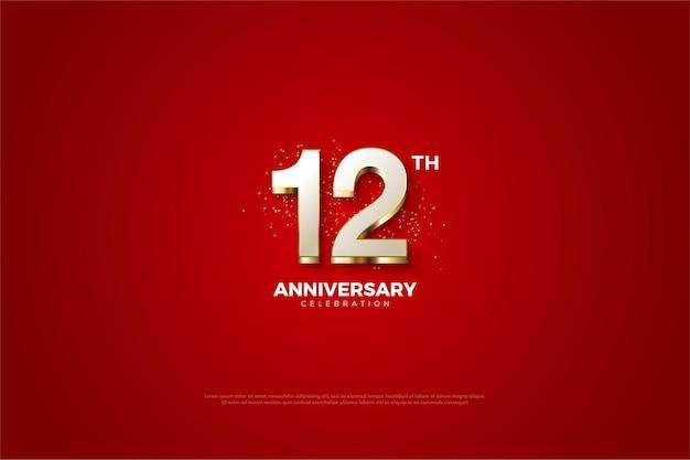 12º aniversário com revestimento numeral dourado luxuoso