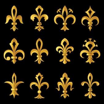 12 flor de lis ícones dourados